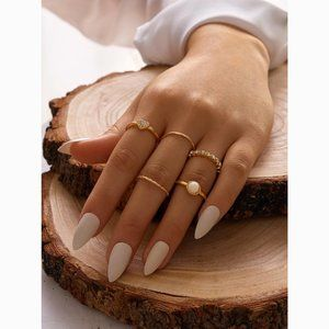 Heart White Bead Dainty Gold Midi Knuckle Ring Set